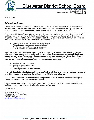 Reference letter from Bluewater District School Board